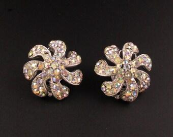 Weiss Rhinestone Earrings, Weiss Earrings, Silver Earrings, Aurora Borealis Earrings, Flower Earrings, Bridal Earrings