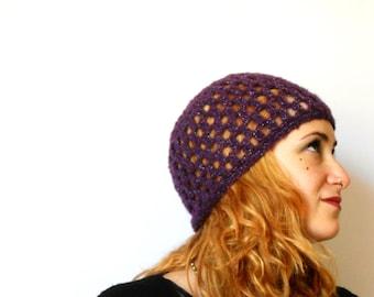 Woman crochet beanie, handmade purple and silver boho mohair beret, crochet hat mother's day gift Inspirational womens