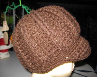 Brown Hand Crocheted Newsboy Brim Hat
