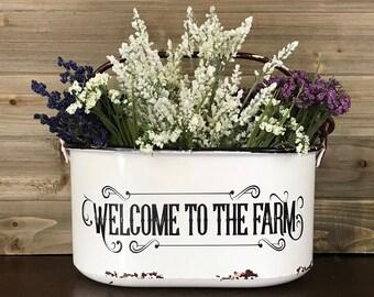 Welcome To The Farm Bucket, Enjoy The Little Things, Farmhouse Bucket, Towel Holder, Fruit Bowl, Toilet Tissue Holder, Farmhouse Decor