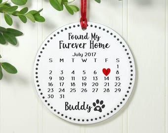 Dog Ornament Personalized Dog Christmas Ornament Pet Adoption Ornament Rescue Pet Personalized Pet Ornament Found My Furever IB1B1FS