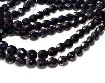 Black 8mm Czech Glass Fire Polish ROund Beads  25