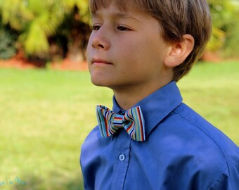 Boys Bow Tie - blue red white yellow multi narrow striped cotton bowtie, bow tie for infant toddler child preteen, little boy bow tie