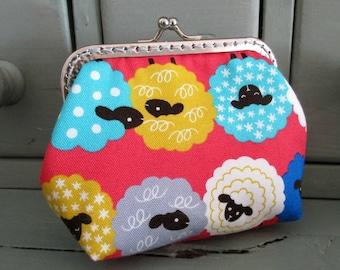 Sheep purse, multicoloured sheep, metal frame coin purse