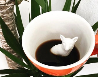 Fox Mug by CREATURE CUPS | Hidden Animal Inside | Handmade Orange Ceramic Mug | Holiday and Birthday Gift for Coffee & Tea Lovers
