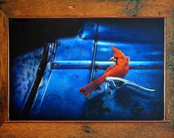 Mr. C's Barn Find- oil painting of a cardinal on '34 Ford