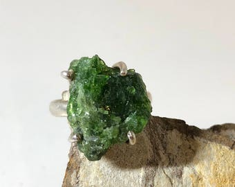 Raw emerald on sterling silver ring