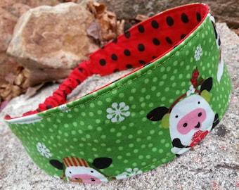 Christmas Cow Headband, Reversible Polka Dot Headband