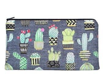 Cactus Zipper Pouch, Little Potted Cacti Pencil Case Clutch Purse
