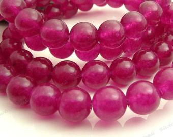 8mm Dark Magenta Jade Round Gemstone Beads - 15.5 Inch Strand - BC12