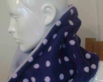 Reversible Lilac and Purple Spotted Fleece Cowl Neck Warmer Handmade