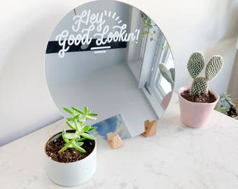 Hand lettered Circle Mirror- 10in