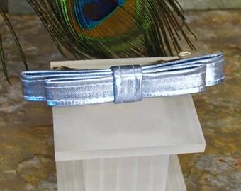 Blue Bow Barrette - Shiny Metallic French Barrette - Summer Hair Accessory - Blue Hair Bow Clip