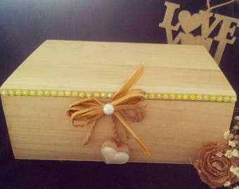 Wooden box carries tea and infusion shabby
