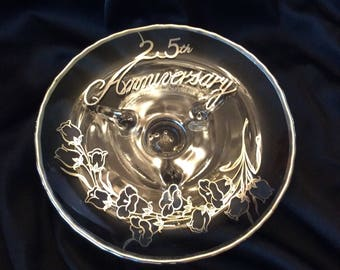 Vintage 25th Anniversary candy tray
