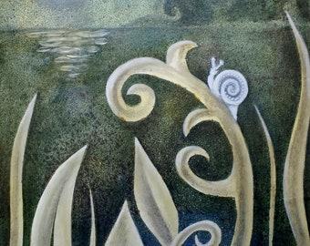 "Snail (8X8"" oil on wood panel)"