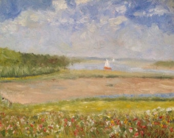 Landscape painting landscape oil painting painting impressionistic painting painting of A Suffolk River Scene with Wild flowers