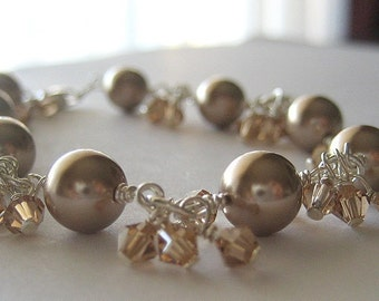 Crystal Clusters...Swarovski Pearl and Crystal Bracelet...Other Colors Available
