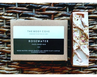 Rosewater Face + Body Bar - All natural soap, Handmade soap, cold process soap, Vegan soap, Essential oil soap