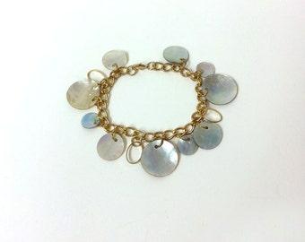 "Vintage Boho Dangle Iridescent Mother of Pearl Shell Bracelet with Circular Hanging Discs, Goldtone, 7.5"" length,"