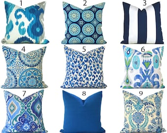 Blue Outdoor Pillows ANY SIZE Outdoor Cushions Outdoor Pillow Covers Decorative Pillows Outdoor Cushion Covers Best Pillow OD You Choose
