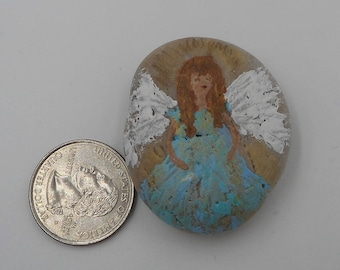 Angel blessing rock protection stone good luck hand painted tailsman rock