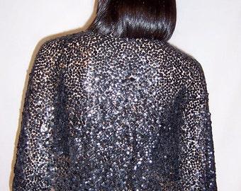 1930's Black Sequined Capelet on Cotton Tulle