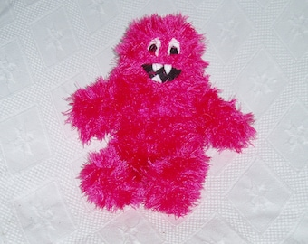 Pink Hairy Woolderland Monster Knitted Handmade Soft Toy
