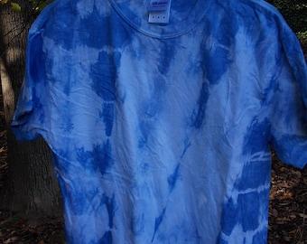 shibori indigo hand dyed adult men or women shirt size medium - tie dye shirt, tie dye clothing