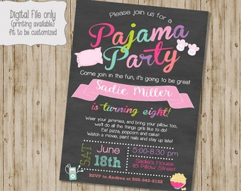 Pajamas Birthday Invitation, Slumber Party Invitation, Pajama Party Invitation, Girl Birthday Invitation, Sleepover Invitation, Pajamas