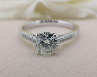 1 carat Forever Brilliant Moissanite Engagement ring with natural diamonds, Bridal Ring,Diamond Alternative engagement ring