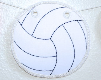 ITH Volleyball Bunting Machine Embroidery Design Pattern Download 4x4 5x7 In The Hoop Project Volleyball Fabric Banner