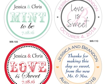 240 - 1.6 inch Personalized Glossy Wedding Stickers Labels - hundreds of designs to choose from - change designs to any color or wording
