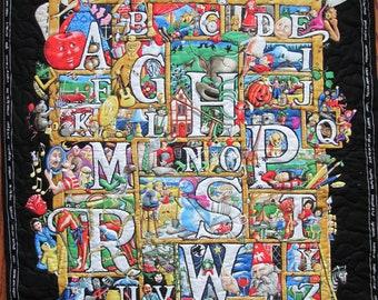 Baby Quilt, Alphabet Quilt, Child quilt, Lap Quilt, Wall Hanging, ABC's, (B-104)