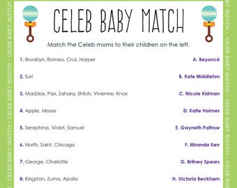 Printable Baby Shower Game - Celebrity Baby Match