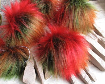3 Faux Fur Pom Pom  Colorful Rainbow Pompon Fourrure Fashionable knitted accessories