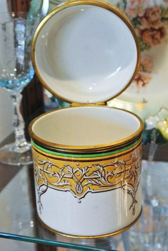 19th Century Antique French Faience Sarreguemines  / 1800s Lidded Jar France / Porcelain / Earthenware