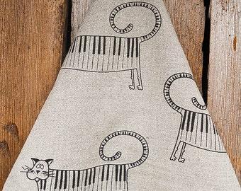 Cat Towel Cat Tea Towel Linen Towel Kitchen Towel Dish Towel Kitten Towel Cat Gift Piano Cat Lovers Gift For Music Lover Christmas Gift