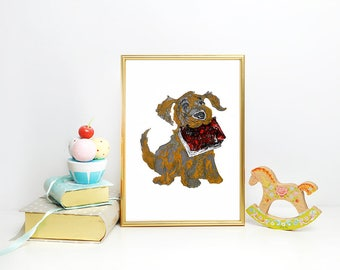 Dog Wall Art - Puppy Art - Dog Print - Gift for Dog Lover - Dog Art - Dog Painting - Animal Art Kids Room Decor - Nursery Wall Art Decor