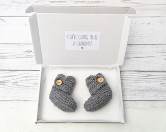 baby announcement booties, you're going to be a grandma, pregnancy reveal, crochet baby booties, new baby, grey