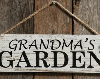 Rustic Wooden Sign - Grandma's Garden