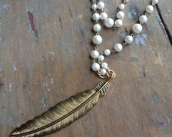 Brass Feather & Pearl necklace