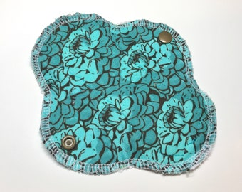 "6.5"" Mini Cloth Liner - Thin Serged Style - Reusable Pantyliner - Turquoise Floral Cloth Liner"