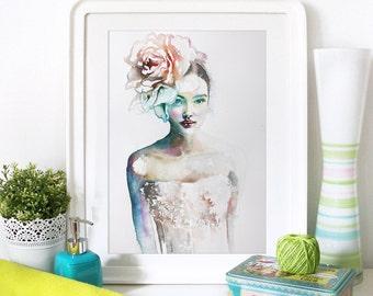 Watercolor Print. Wall art portrait of beautiful girl. Digital print.