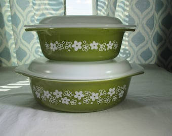 Vintage, Pyrex, Spring Blossom Green, 4 Piece, Oval Casserole Set, #043, 1 1/2 qt., #045, 2 1/2 qt., with Opal Lids. 1972 to 1979
