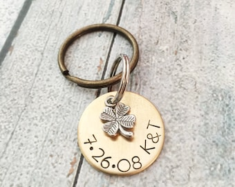 Anniversary keychain - Couples keychain - Lucky us - Hand stamped keychain - Hand stamped anniversary gift - Personalized gift for spouse