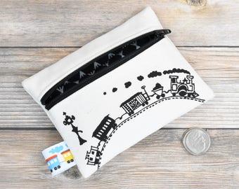 Train Wallet, Boys Birthday, Organic Wallet, Boys Wallet, Train birthday, first wallet, first coin purse, boys change purse, choo choo