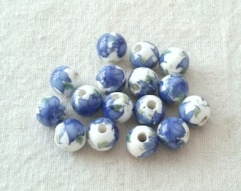 Porcelain Blue Flower Beads - 10 mm - Sets of 20