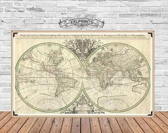 Antique map of the World, 1691, large map, fine reproduction, antique decor, fine art print