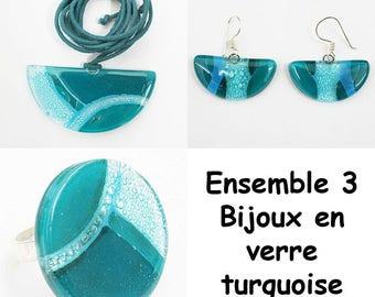 Turquoise glass matching jewelry set
